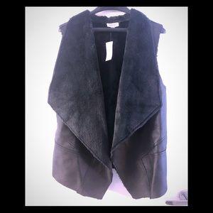 Avenue Faux Leather Black Vest